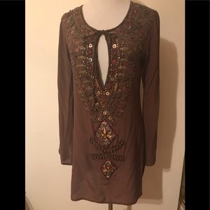 Tops - Saraco Brown Silk sequin embellished tunic